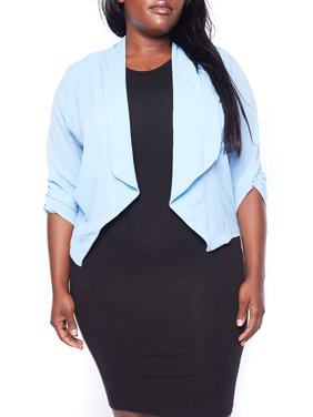 27b6462d1 Product Image Womens Plus Size Ruched Sleeve Chevron Collar Polyester Solid  Blazer B3111-XL-Pink