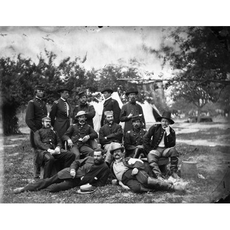 Civil War Headquarters Nwilliam Frederick Scarlett 3Rd Baron Abinger  Lieutenant Colonel Scots Fusiliers Guards Seated First Left  Visiting The Headquarters Of The Army Of The Potomac Falmouth Virgini