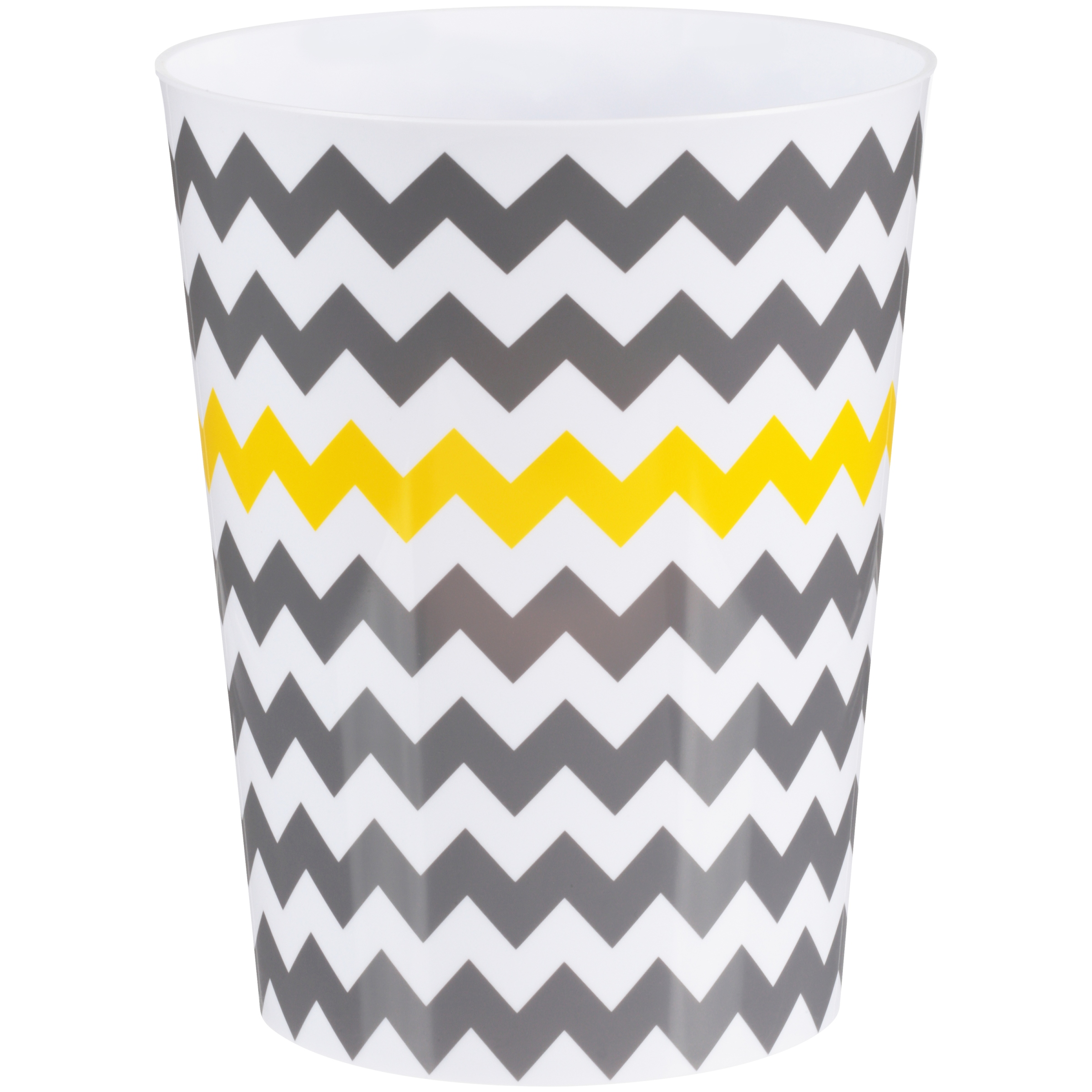 InterDesign Chevron Wastebasket Trash Can, White and Gray with Yellow