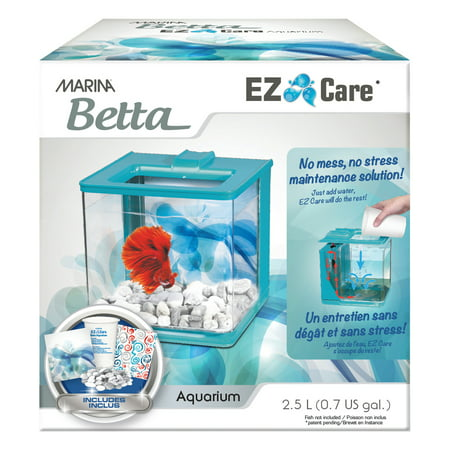 Marina Betta EZ Care 0.7-Gallon Aquarium Starter Kit, Blue