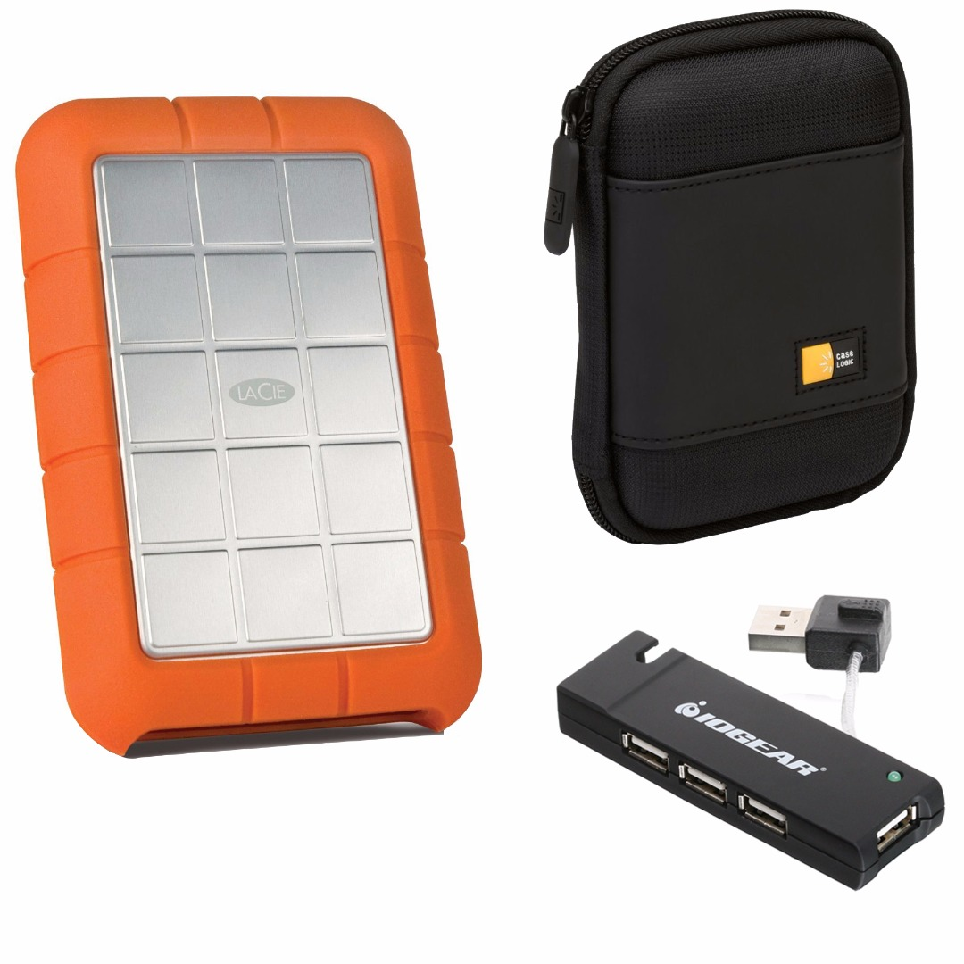 LaCie 500GB Rugged Triple Interface USB 3.0 Portable Hard Drive w/ Compact Portable Hard Drive Case