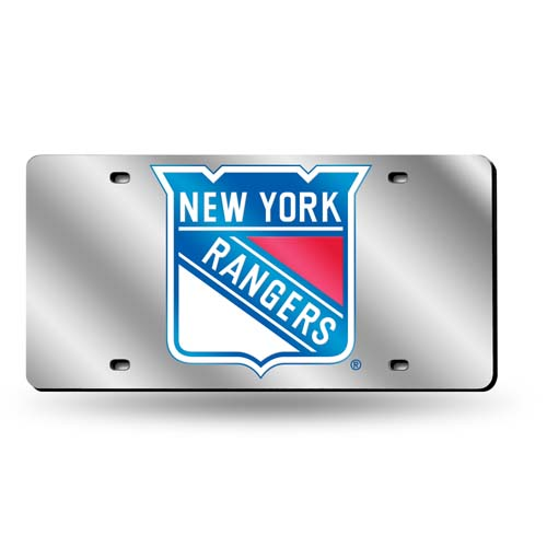 New York Rangers Deluxe Mirrored Laser Cut License Plate