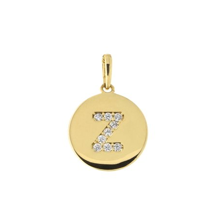 14k Yellow Gold Cubic Zirconia Initial Disc Pendant, (Gold Initial Disc)