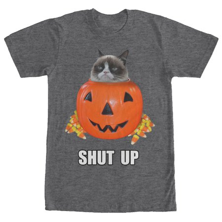 Grumpy Cat Men's Halloween Candy Shut Up Charcoal Heather - Mom Dad Eat All Halloween Candy
