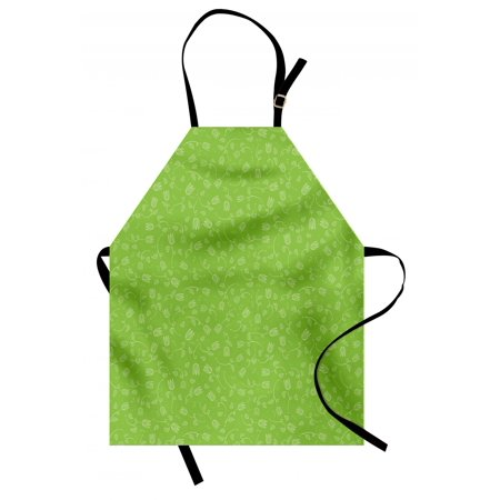Green Apron Doodle Style Tulip Flowers with Swirled Twigs and Leaves Blossoming Nature, Unisex Kitchen Bib Apron with Adjustable Neck for Cooking Baking Gardening, Lime Green White, by Ambesonne