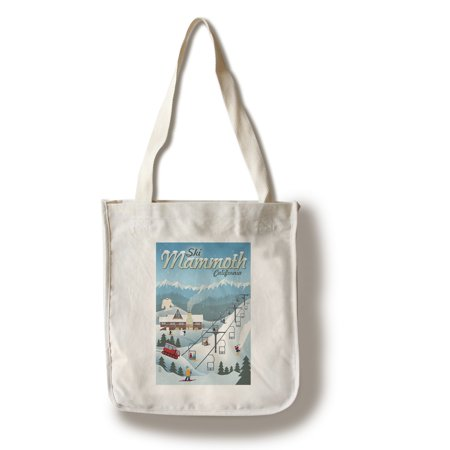 Mammoth, California - Retro Ski Resort - Lantern Press Artwork (100% Cotton Tote Bag - (Best Cheap Ski Resorts)