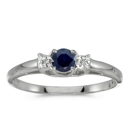 14k White Gold Round Sapphire And Diamond (Round Diamond Sapphire Fashion Ring)