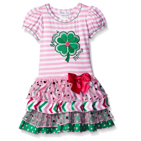 Bonnie Jean Girls Shamrock Green Clover Princess St Patricks Pink Dress 6 - St Patricks Dress