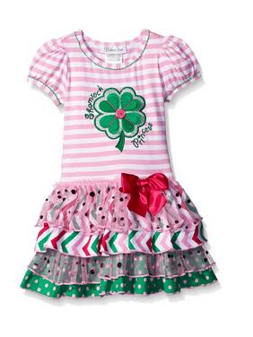 41e93942e8 Product Image Bonnie Jean Girls Shamrock Green Clover Princess St Patricks  Pink Dress 6