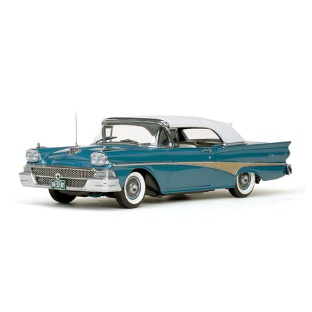 1958 Ford Fairlane 500 Closed Convertible Silverstone Blue / White 1/18 Diecast Car Model by