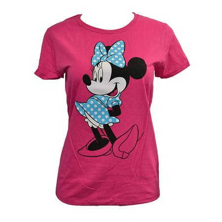 Minnie Mouse Blue Polka Dot Dress Juniors T-Shirt Hot Pink - Hot Pink Juniors T-shirt