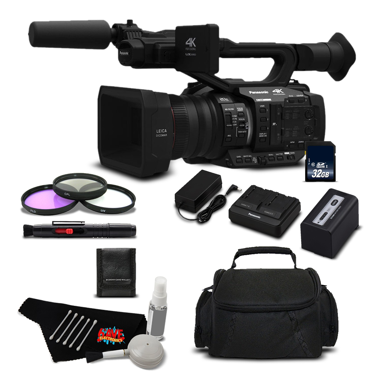 Panasonic AG-UX180 4K Premium Professional Camcorder International Version (No Warranty) + 64GB SDXC Class 10 Memory Card + Carrying Case + Sony MDR-7506 Headphone + Lens Pen Cleaner Bundle