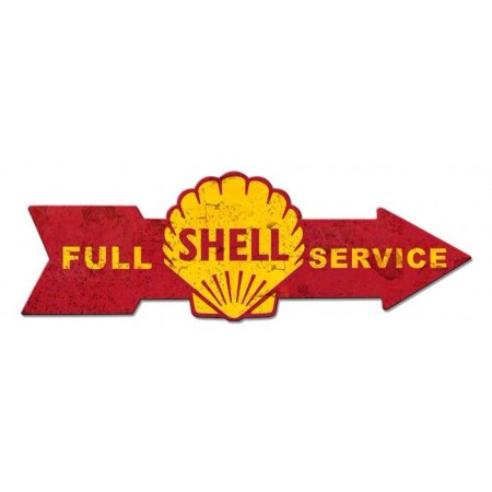 New Metal Shell (Shell Full Service Arrow Metal Sign  SIG-0168 )