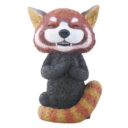 Black and Red Panda Creature Teehee Themed Decorative Figurine Statue
