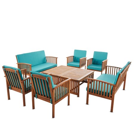 Cape Town Outdoor 8 Piece Acacia Wood Sofa Set with  Water Resistant Cushions, Brown Patina  and Teal ()