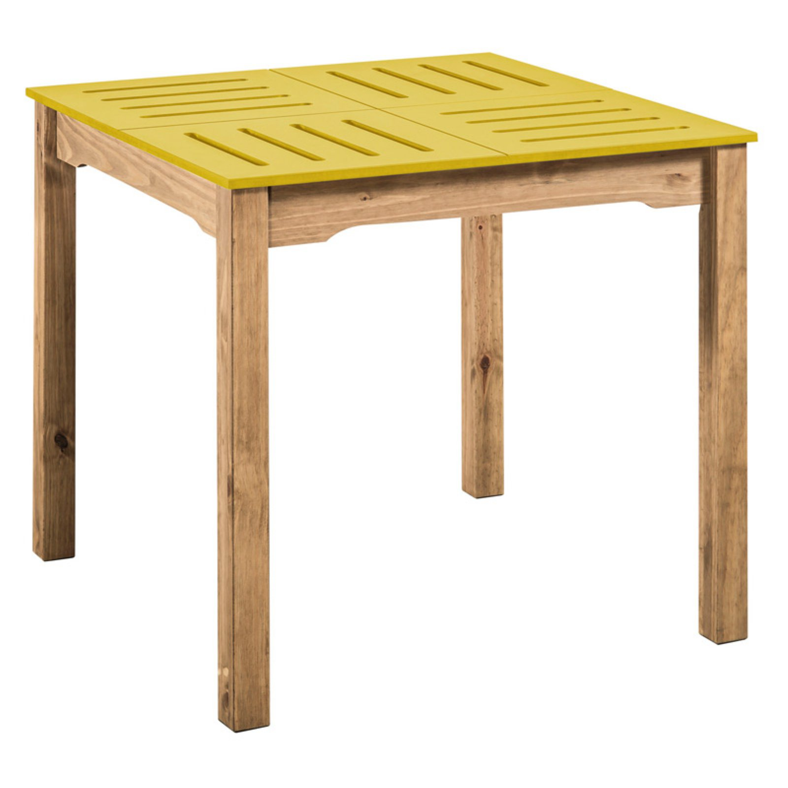 """Mid- Century Modern Stillwell 31.5"""" Square Table in Yellow and Natural Wood"""