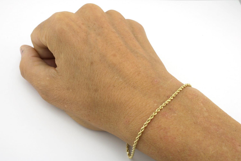 10K Yellow Gold 2 MM Rope Chain Bracelet Anklet Diamond Cut 7 8 For Women