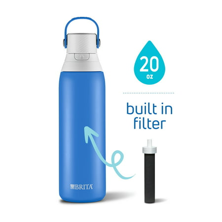 Brita 20oz Premium Double-Wall Stainless Steel Insulated Filtered Water Bottle - Dark Blue