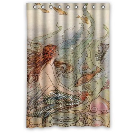DEYOU Mermaid Shower Curtain Polyester Fabric Bathroom Size 48x72 Inches