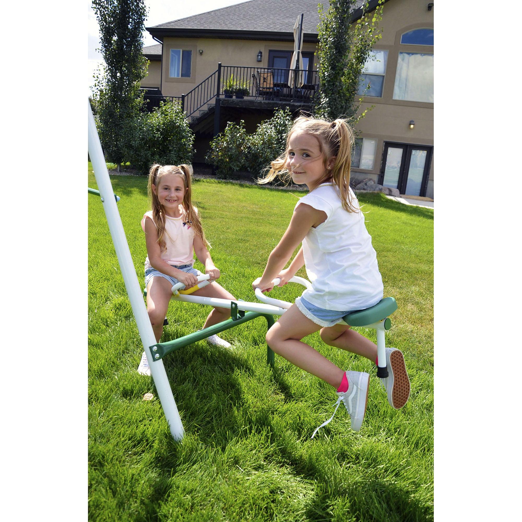 Sportspower Outdoor Live Oak Metal Swing And Slide Set Walmart Com