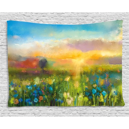 Art Tapestry, Dandelion Cornflower Daisy Blooms in the Meadow Field before Sunset Spring Landscape, Wall Hanging for Bedroom Living Room Dorm Decor, 80W X 60L Inches, Multicolor, by Ambesonne