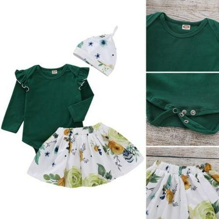 Newborn Infant Baby Girl Floral Clothes Jumpsuit Romper Bodysuit Dress Outfit UK
