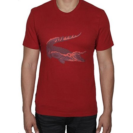 LACOSTE MENS PRINTED T-SHIRT LIGHTHOUSE RED