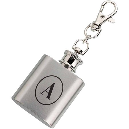 Monogrammed Flask (Lillian Rose Mini Silver Flask Monogram with Keychain )