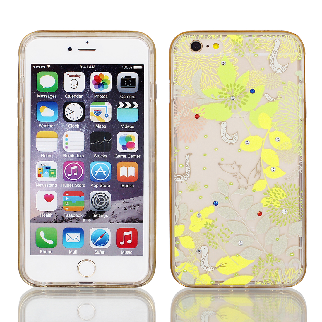 Soft Plastic Plant Print Case Cover w Bumper Frame for iPhone 6 Plus 5.5  Yellow