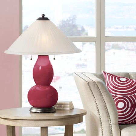 Color + Plus Antique Red Fulton Table Lamp with Fluted Glass Shade