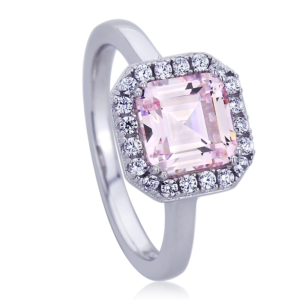 Sterling Silver Platinum Plated Engagement Ring Pink Square Cubic Zirconia Ring by