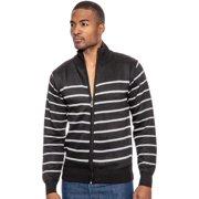 true rock men's full front striped sweater-black-small