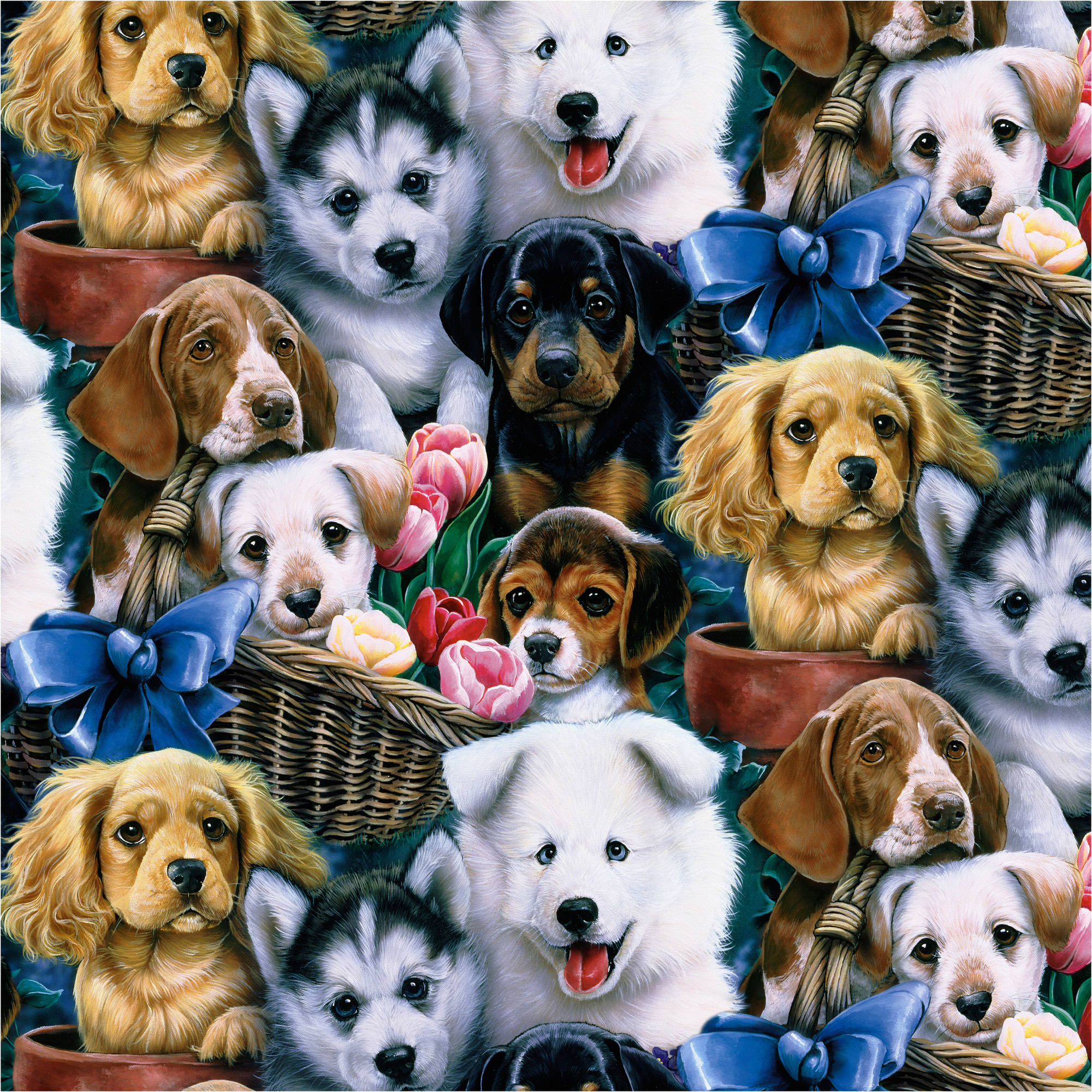 David Textiles Valentine's Puppies - 44""