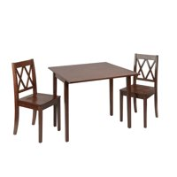 Maisel 3 Piece Wooden Drop Leaf Dining Set with Decorative Back Chairs
