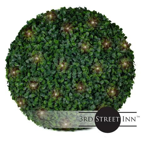 3rd Street Inn Boxwood Lighted Topiary Ball - 15