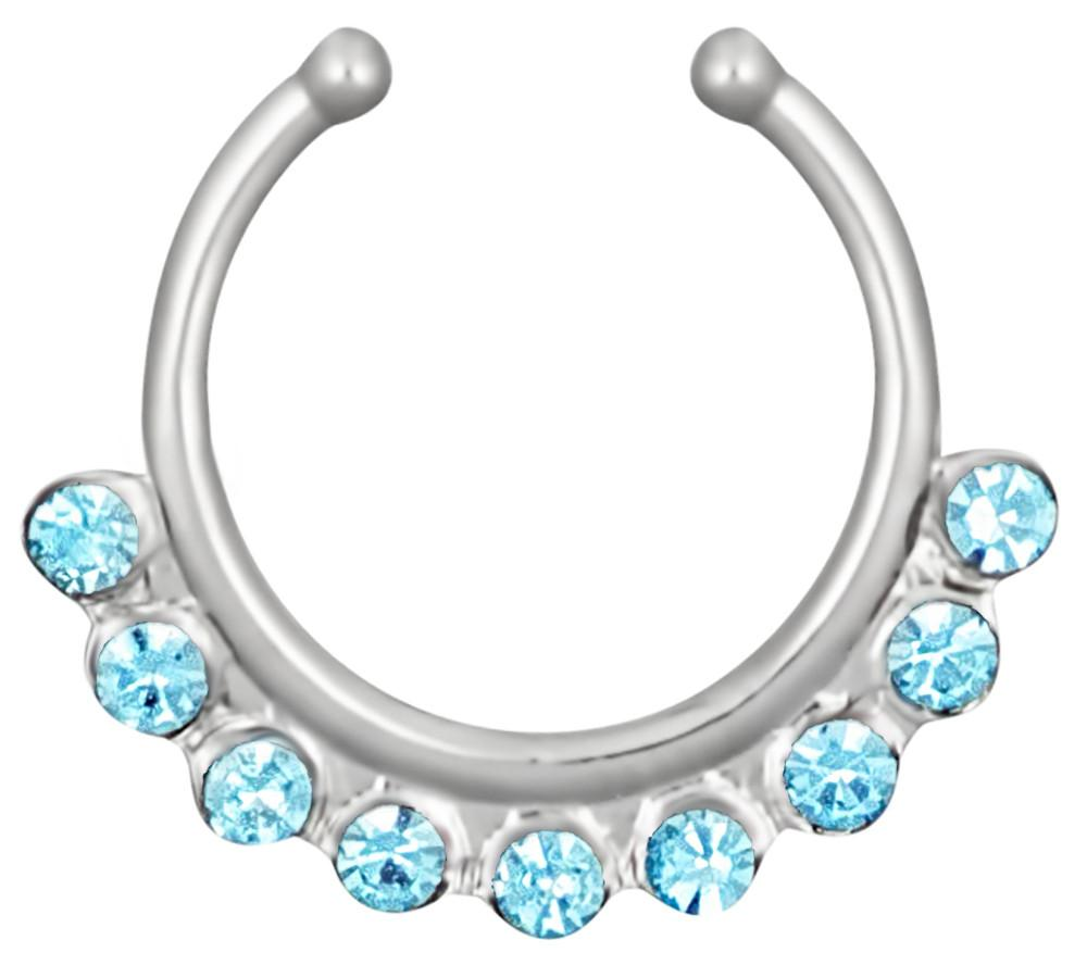 WildKlass Jewelry Septum Hanger Beaded Trim Non Piercing Faux Septum Ring