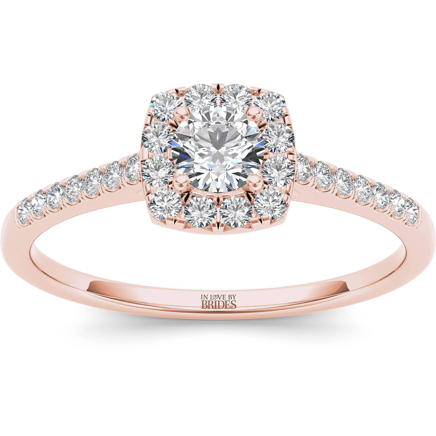 IN LOVE BY BRIDES 3/8 Carat T.W. Certified Diamond Cushion Halo 14kt Pink Gold Engagement Ring