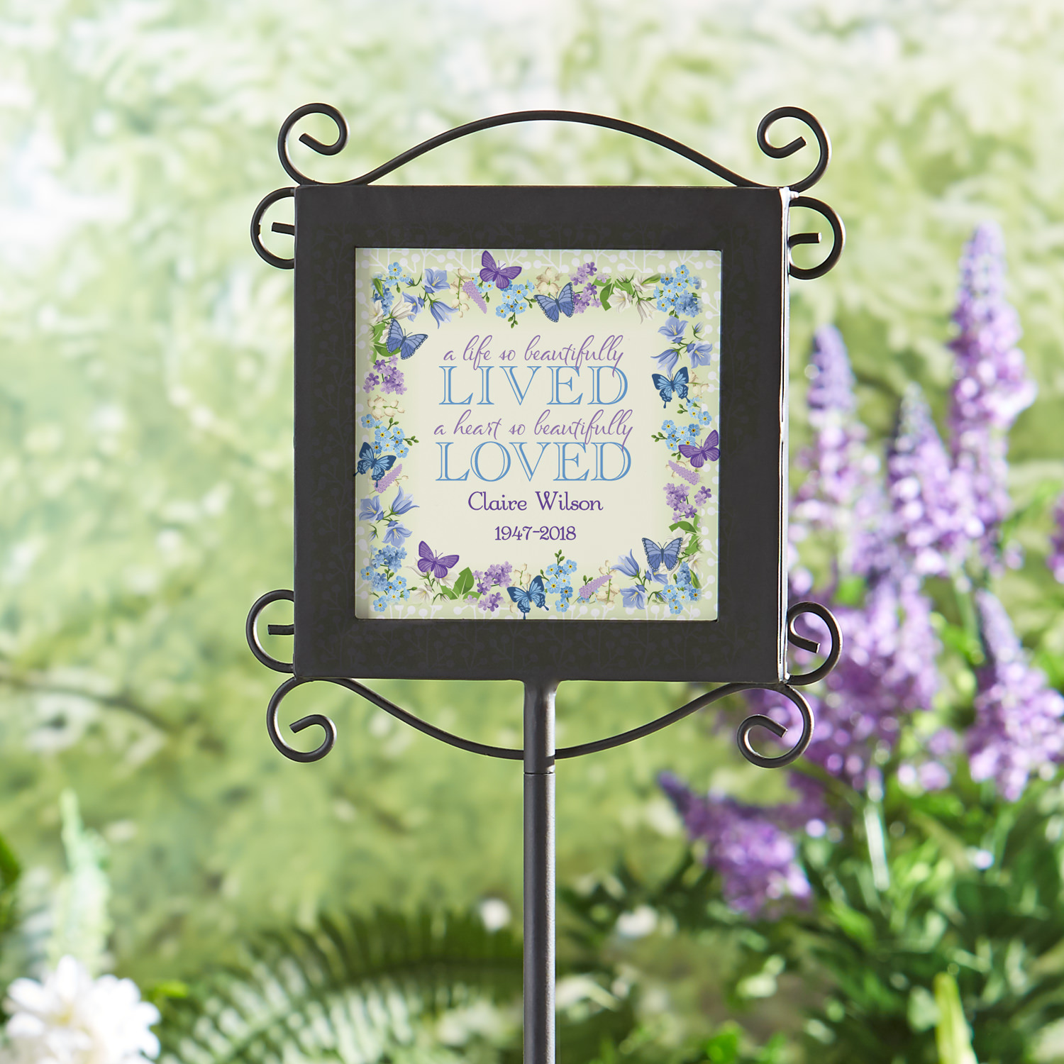 Personalized A Beautiful Life Memorial Garden Stake
