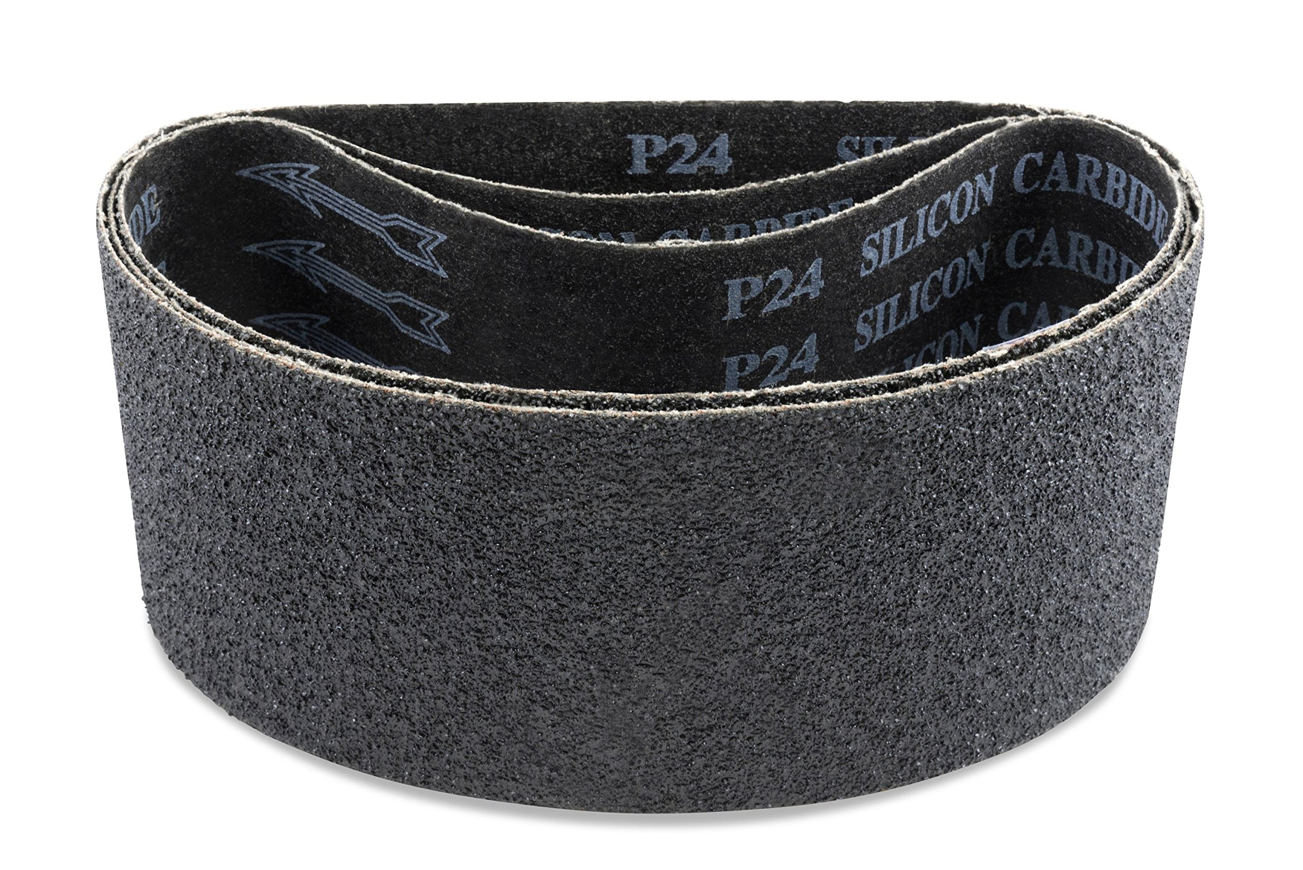 4 X 21 Inch Silicon Carbide Sanding Belts, 3 Pack by Red Label Abrasives