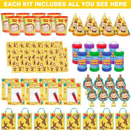 Curious George Deluxe Favor Kit (For 8 Guests) - Curious George Birthday Party Decorations