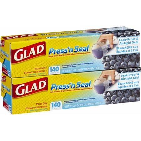 Glad Press N Seal Plastic Wrap, 2 pk./140 sq. ft. (Press N Seal Freezer Wrap)
