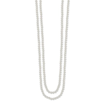 TAZZA WOMEN'S 8MM WHITE FAUX PEARL LONG NECKLACE (Pearl Wire Necklace)