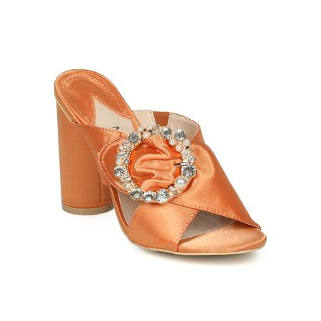 New Women MACKIN J 174-7  Open Toe Bejeweled Buckle Block Heel Sandal