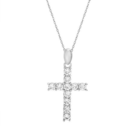 Ladies Faceted Crystal Cross Cable Chain Necklace in Sterling Silver made with Swarovski Crystals (Color: Crystal)
