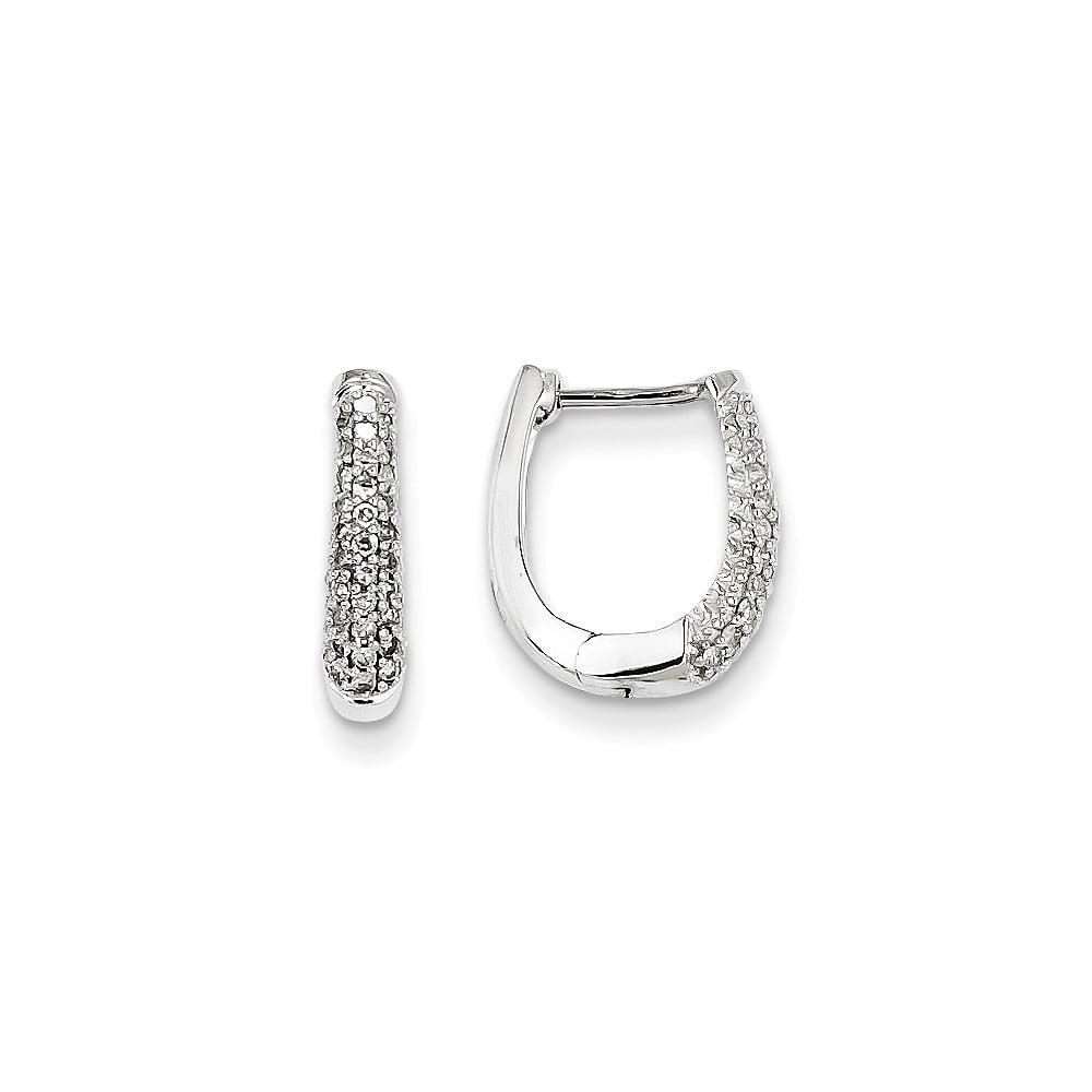 14k White Gold Diamond Hinged Hoop Huggie Earrings. Carat Wt- 0.25ct (0.5IN Long x 0.5IN Wide)