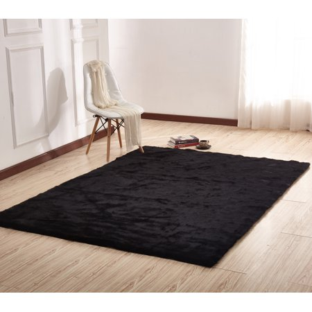 Animal Fur Area Rug In Black With Suede Backing One Inch Pile Height Thickness Made