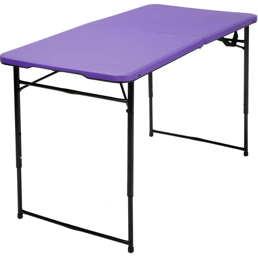 Cosco 4' Indoor Outdoor Adjustable Height Centerfold Tailgate Table, Multiple Colors by Cosco