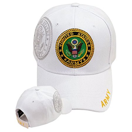 Army Baseball Cap White U.S. Military Logo Hat Mens Womens