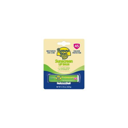 Banana Boat Sunscreen Lip Balm SPF 45, Aloe Vera & Vitamin E, 0.15 oz