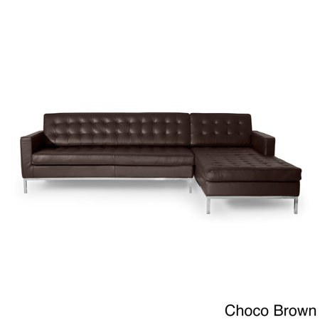 Karl Florence Knoll Style Sofa Sectional Right Choco Brown 100 Full Premium Leather